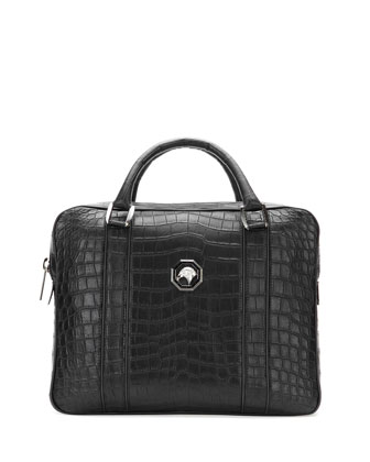 Crocodile Leather Large Briefcase, Black