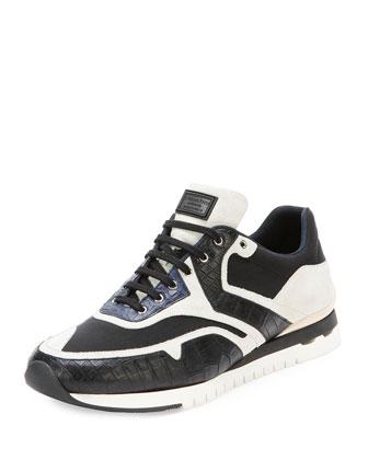 Croc & Leather Sport Sneaker, Black