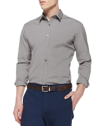 Zach PS Solid Long-Sleeve Shirt, Gray