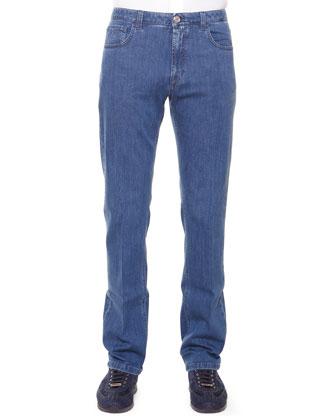 Five-Pocket Denim Jeans, Blue