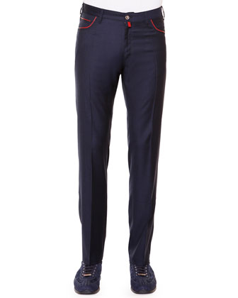 Flat-Front Sport Trousers, Navy