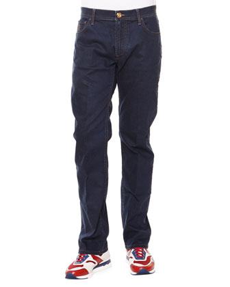 Contrast-Stitch Straight Denim Jeans, Dark Brown Gold