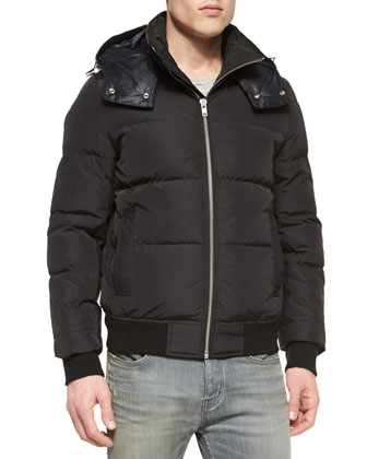 Puffer Jacket with Leather Hood, Black