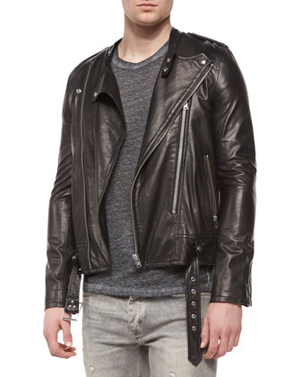 Hydo Leather Moto Jacket, Overdyed Short-Sleeve Linen Tee & Slim-Fit ...