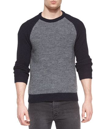 Wool-Blend Crewneck Baseball Sweater, Gray