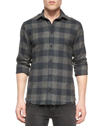 Plaid Long-Sleeve Woven Shirt, Gray