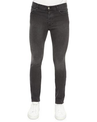 Benj Washed Denim Skinny Jeans, Black