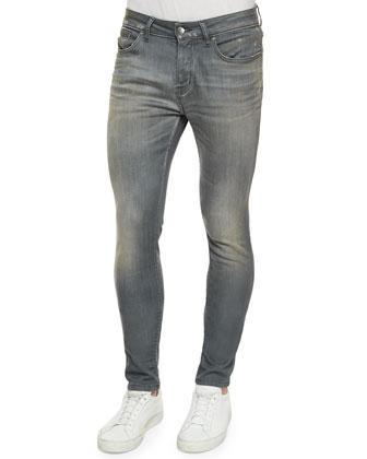 Washed Skinny-Leg Denim Jeans, Gray