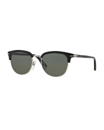 Cellor Half-Rim Polarized Acetate Sunglasses, Black