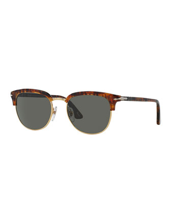 Cellor Half-Rim Acetate Polarized Sunglasses, Dark Havana