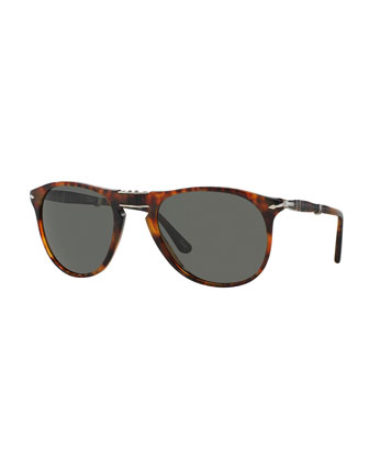 714-Series Foldable Acetate Sunglasses, Dark Havana
