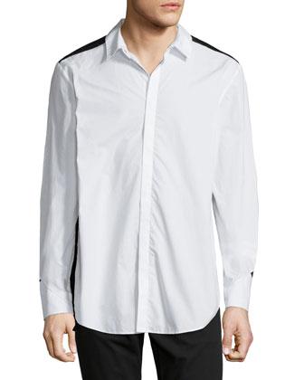 Colorblock Button-Down Shirt, White