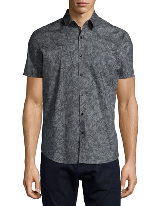 Printed Short-Sleeve Woven Shirt, Gray