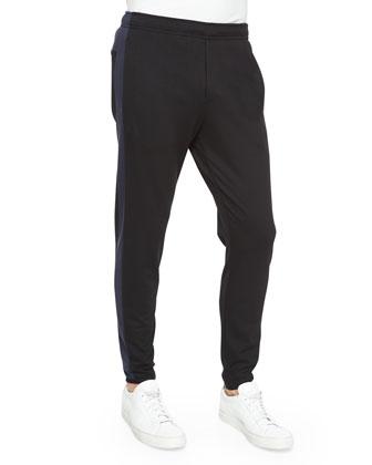 Side-Stripe Cotton Sweatpants, Black/Navy