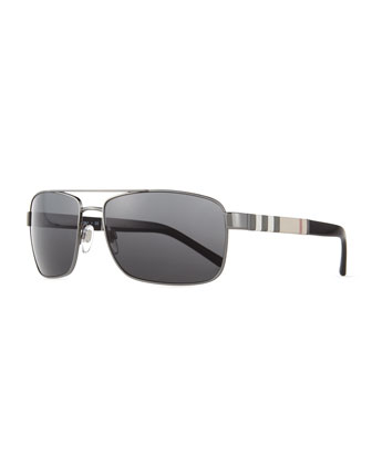 Check-Temple Aviator Sunglasses, Gunmetal