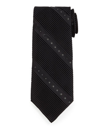 Wide Diagonal-Pleat & Crystal Silk Tie, Black