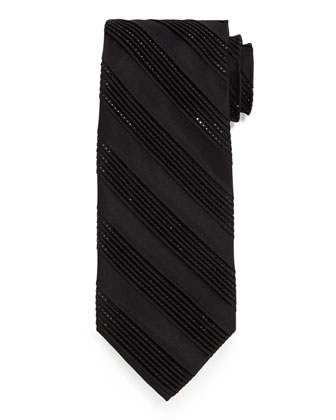 Diagonal-Pleat & Crystal Silk Tie, Black