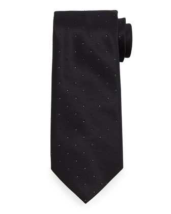 Crystal-Embellished Silk Tie, Black