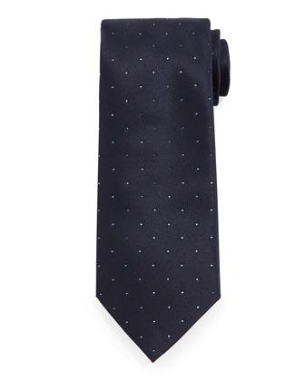 Crystal-Embellished Silk Tie, Blue
