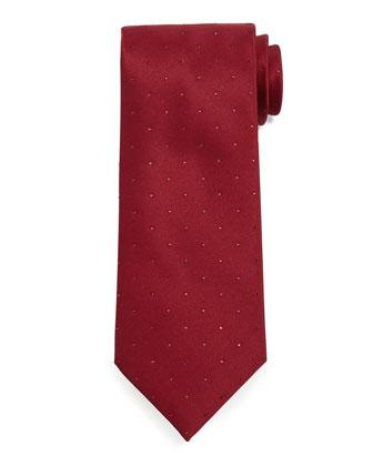 Crystal-Embellished Silk Tie, Red