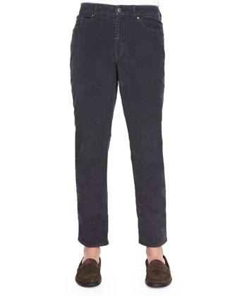 Five-Pocket Stretch Corduroy Pants, Navy