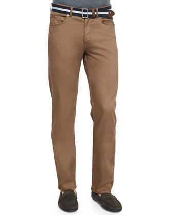 Five-Pocket Stretch-Cotton Trousers, Brown