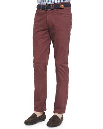 Five-Pocket Stretch-Twill Pants, Maroon