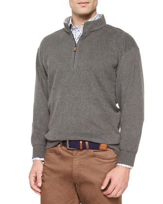 Melange Fleece Quarter-Zip Sweater, Charcoal