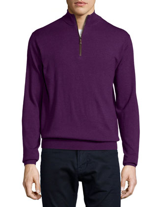 Quarter-Zip Wool Sweater, Purple