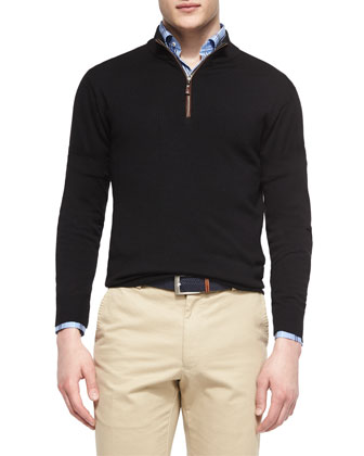 Leather-Trimmed Quarter-Zip Pullover, Oxford Multi-Plaid Sport Shirt & ...