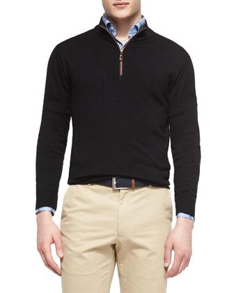 Leather-Trimmed Quarter-Zip Pullover, Black