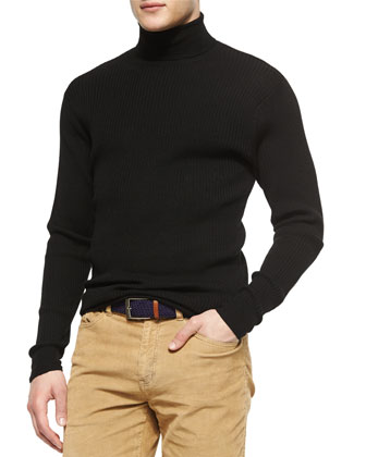 Textured Wool Turtleneck Sweater, Black