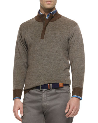Textured Quarter-Zip Pullover Sweater, Brown