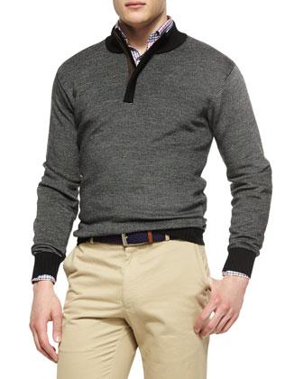 Textured Quarter-Zip Pullover, Black