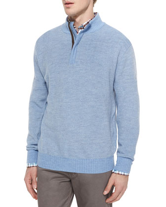 Textured Wool Quarter-Zip Pullover Sweater, Blue