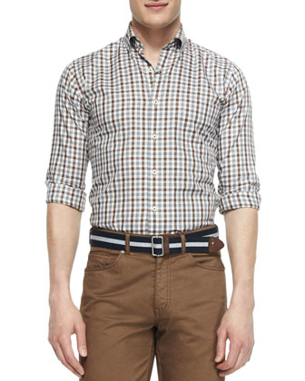 Melange Tattersall Woven Sport Shirt, Brown
