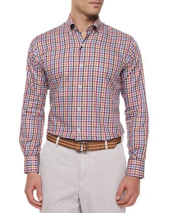 Madrona Plaid Woven Sport Shirt, Brown