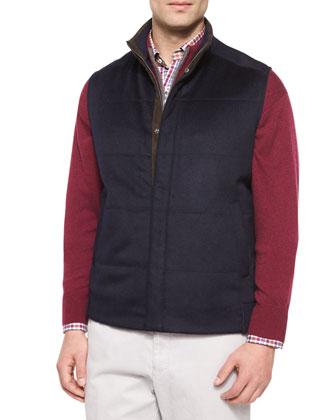 Devon Wool-Blend Quilted Vest, Navy