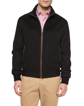 Patrick Wool-Blend Zip-Up Jacket, Black