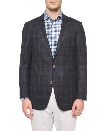 Shadow Windowpane Wool Sport Coat, Charcoal