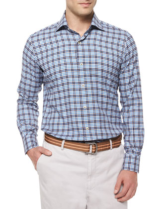 Milano Windowpane Woven Sport Shirt, Blue