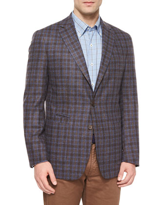 Napoli Plaid Two-Button Wool Sport Coat, Navy