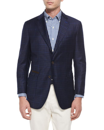 The Napoli Check Two-Button Soft Sport Coat, Navy
