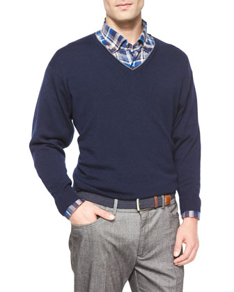 Cashmere-Blend Tipped Sweater, Navy