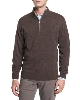 Cashmere Quarter-Zip Pullover Sweater, Dark Red