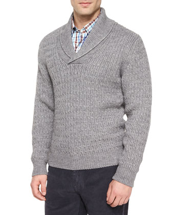 Shawl-Collar Cable-Knit Pullover Sweater, Tattersall Woven Sport Shirt & ...