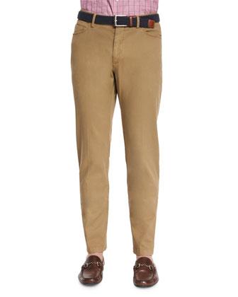 Garment-Dyed Stretch Pants, Khaki