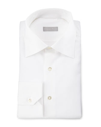 Textured Barrel-Cuff Sport Shirt, White