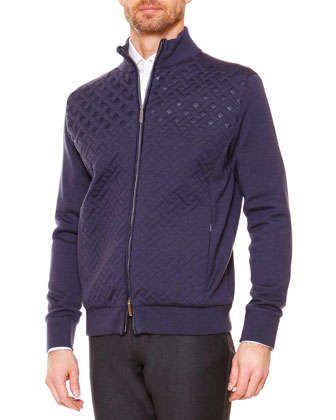 Textured Weave Full-Zip Jacket, Blue