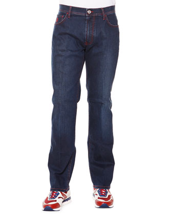 Contrast-Stitch Straight Denim Jeans, Rouge Palladio